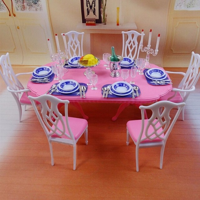 New Dollhouse Dinner Table Tableware Chair Desk Dolls House ...