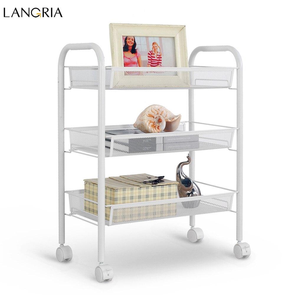 US $19.99 20% OFF|Langria 3 Tier Lagerregal Metallgitter Rollwagen  Badezimmer Regale für Küche Speisekammer Büro Schlafzimmer Badezimmer  Waschraum ...