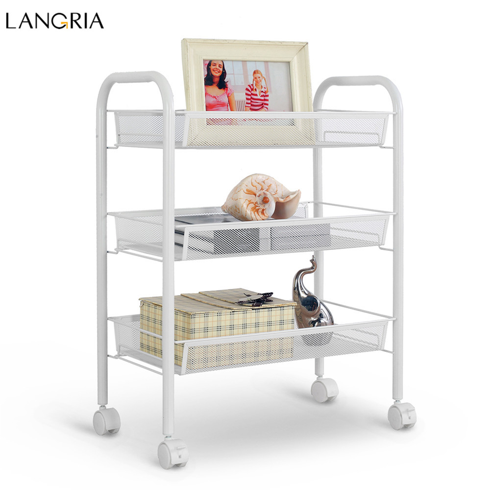 langria 3 tier storage rack metal mesh rolling cart bathroom shelves