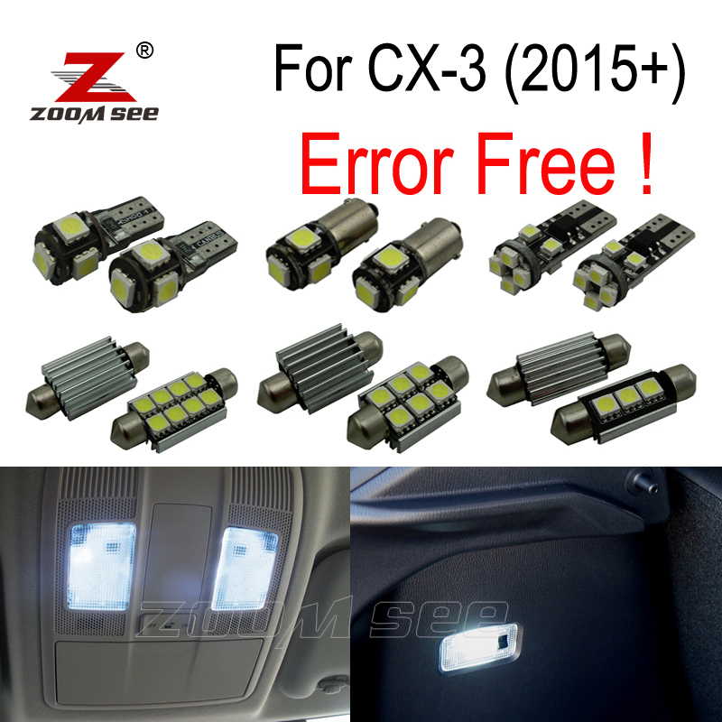 9pcs Error free LED license plate lamp + interior lights kit package for Mazda CX-3 CX3 Touring (2015+) 16pcs xenon white premium led interior map light kit license plate light error free package for mazda 626 1998 2002