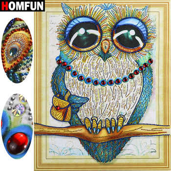 HOMFUN 5D Diamond Painting Animal Special Shape Diamond Embroidery Owl Picture With Rhinestones 5D Home Decor Gift 40x50cm