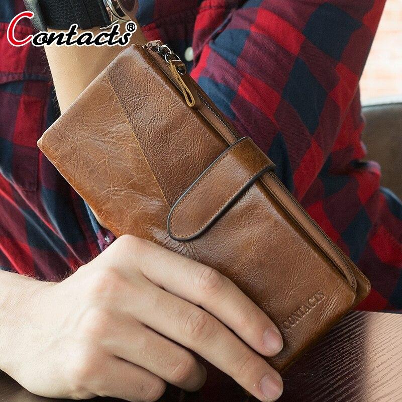 KAPCSOLAT KÉSZÍTŐK Bőr férfi pénztárca Hosszú hitelkártya tartó Telefon Pénzeszsák Érme pénztárca Luxus Férfi Kuplung táskák Pénztárcák Handy