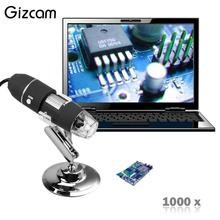 Big discount Gizcam HD 2MP 1000X 8LED USB Portable Digital Microscope Endoscope Zoom Video Camera Magnifier Stand