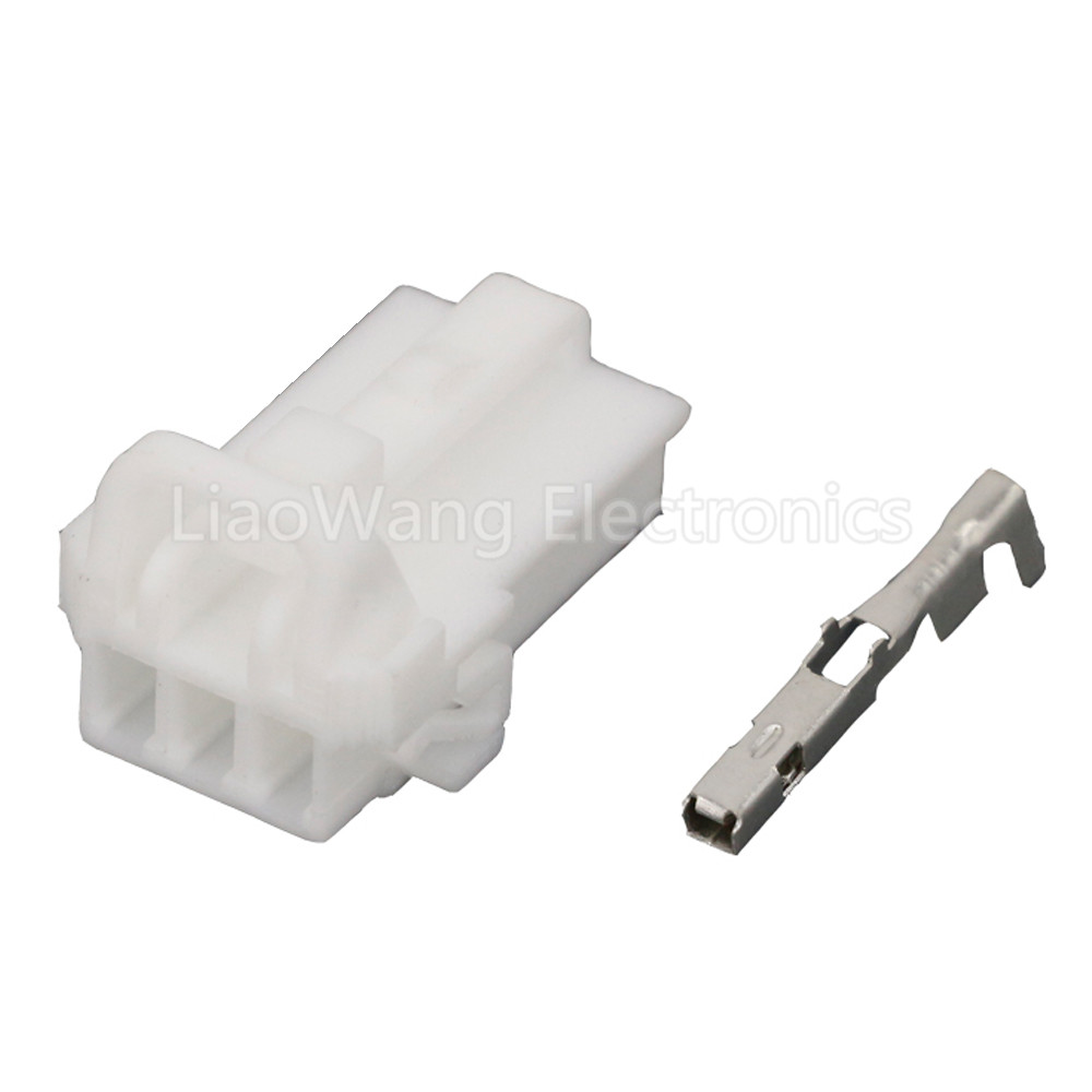 10 Sets 3 Pin White Plastic Cable Harness Connector Automotive Connectors with Terminal DJ7031Y 1 5 21 3P in Connectors from Lights Lighting