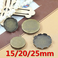 Zakka~Copper Antique Bronze 15mm 20mm 25mm Crown Trays Blank Pendant Bases Cameo Cabochon Settings