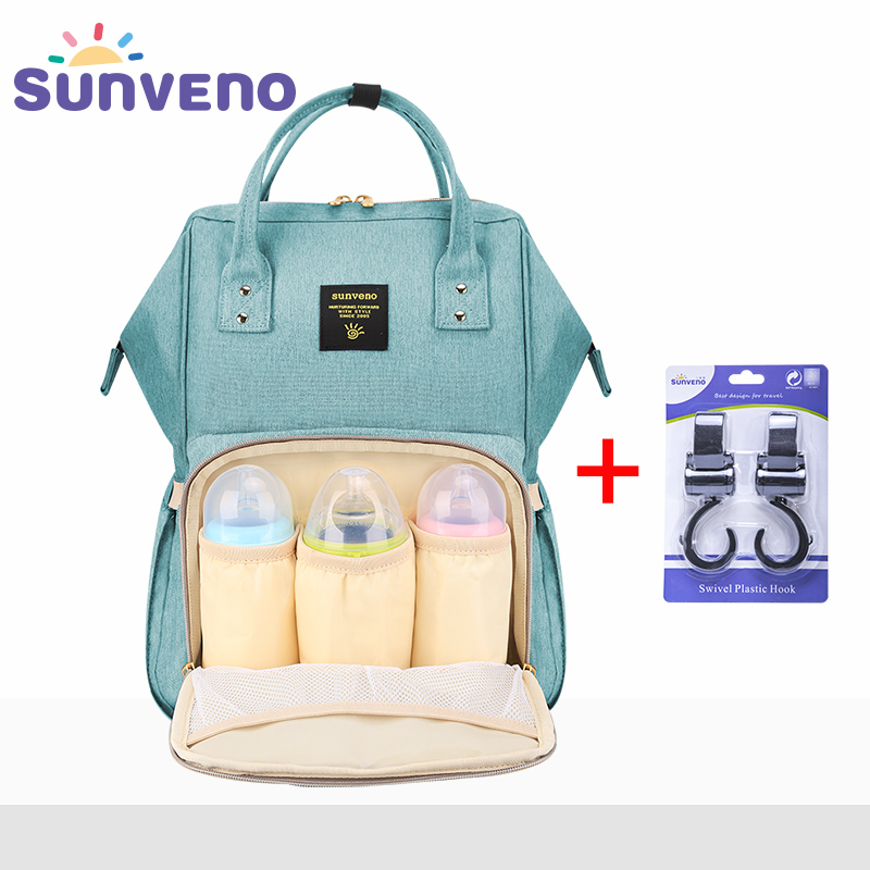 SUNVENO Mummy Maternity Diaper Nappy Bag Organiser stor kapacitet Baby Bag Rygsæk Nursing Bag til Mor Kids Baby Care