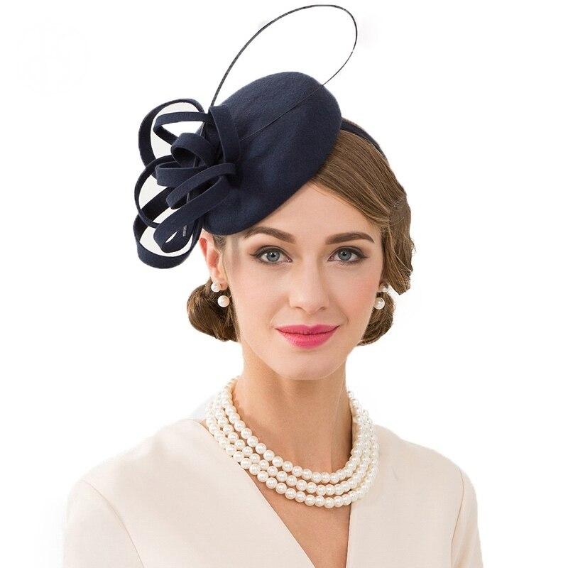 Chapeau de dames bleu marine Royal pour les mariages pilulier Fascinator laine femmes Fedoras Vintage Cocktail thé Party Derby église chapeaux