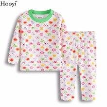 Hooyi ночное белье для девочек; костюмы с рисунком божьей коровки с изображениями животных и птиц детская пижама из хлопка розового цвета с цветочным принтом для новорожденных, комплект одежды для сна детская одежда 0-2Year
