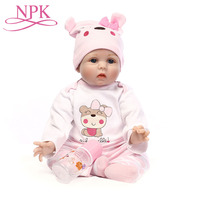 55CM NPK Dolls Reborn Baby Cute Girl Soft Vinyl 22 inch Brown Mohair Christmas Gift For Kids Playmates Collection Toys Boneca