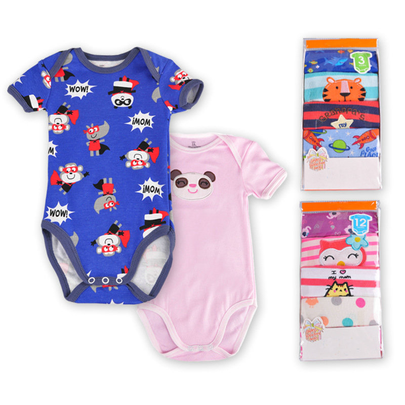 Newborn Baby Boys Girls Short Sleeve Romper Jumpsuit Summer Clothes Outfits Wow