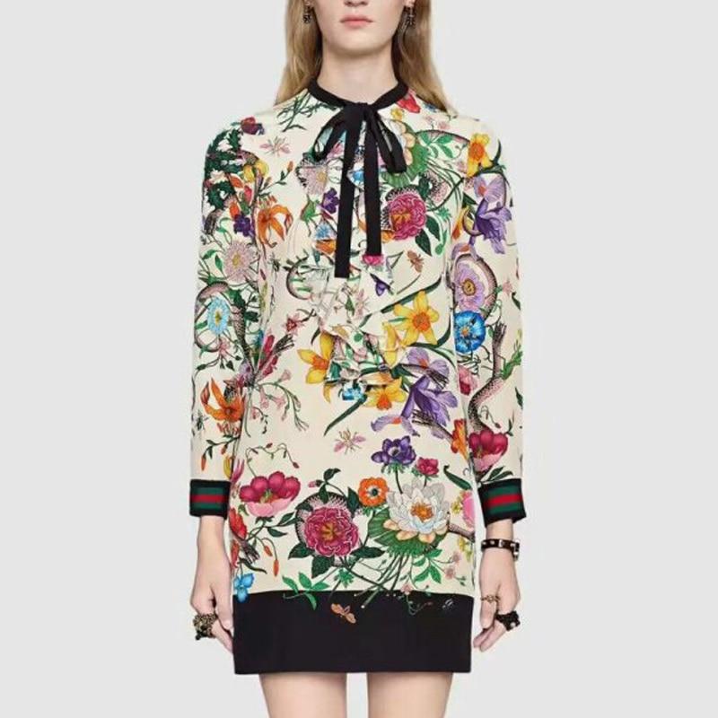 2017 xanımlar Çin stil g yay gül çap ağ bir parça paltar qadın - Qadın geyimi - Fotoqrafiya 1