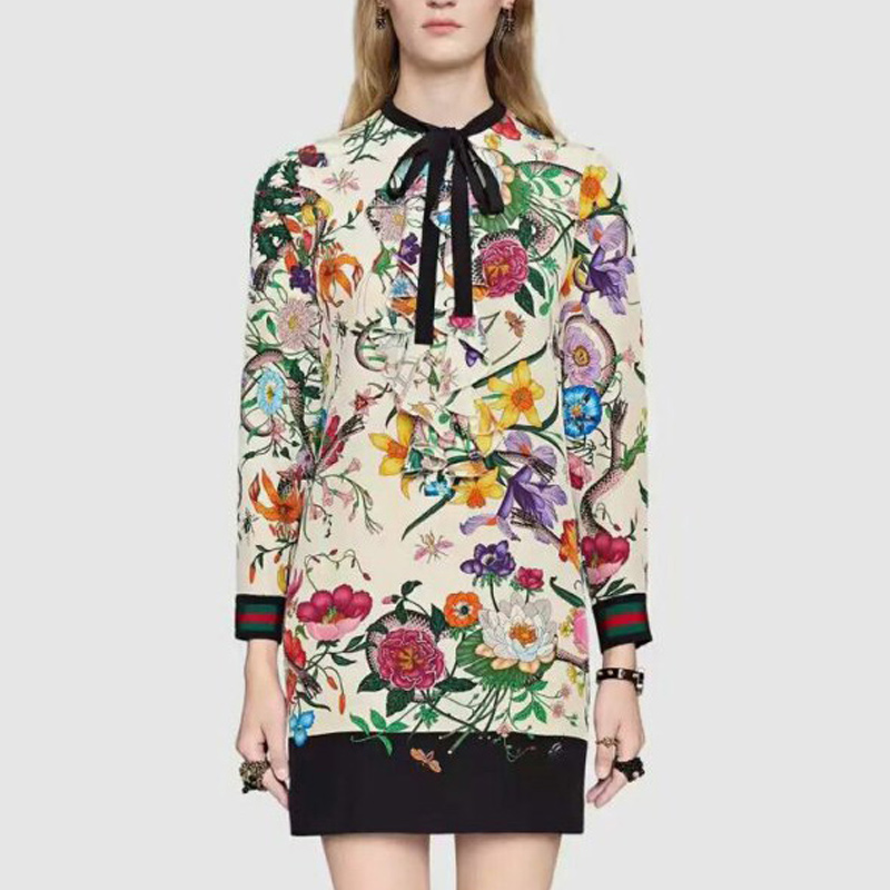 2017 ladies chinese style g bow flower print white one-piece dress female long-sleeve