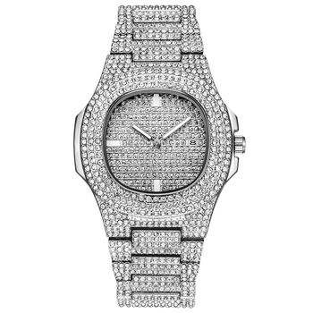 Mens  Watches Top Luxury Brand Full Steel Rhinestone Dourado Quartz Wristwatch Fashion diamond Watch Montres de Marque de Luxe