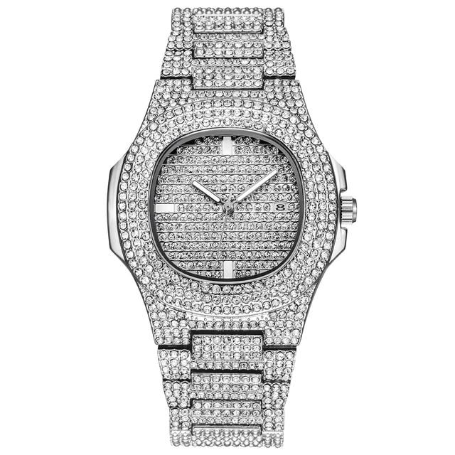 Mens Watches Top Luxury Brand Full Steel Rhinestone Dourado Quartz Wristwatch Fa