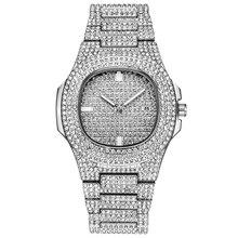 Relógios masculinos topo de luxo marca completa aço strass dourado quartzo relógio de pulso moda diamante relógio de luxoRelógios de quartzo