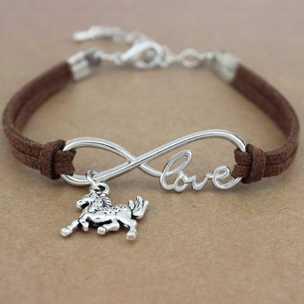 Minimalist Best Friends Friendship Gift Infinity Love Horses Horse Charm   Suede     Leather   Bracelets for Women