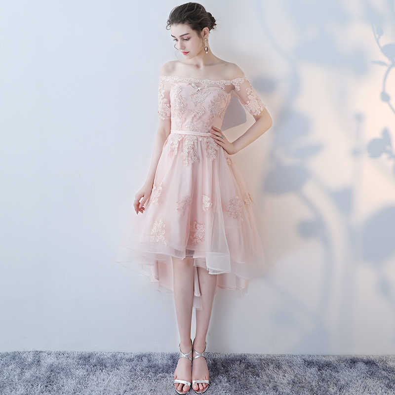 fea878070479 ... LAMYA Princess Short Front Long Back Prom Dresses Sexy High Low Party  Dress Elegant Lace Plus ...