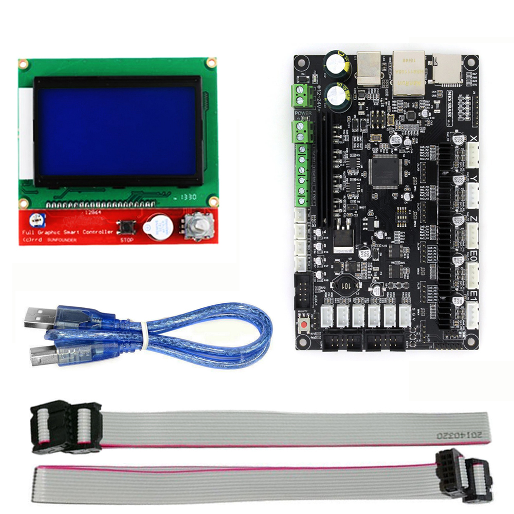 3D Printer 32bit Arm Platform Smooth Control Board MKS SBASE V1.3 + MKS 12864 TFT LCD Touch Screen Display Module