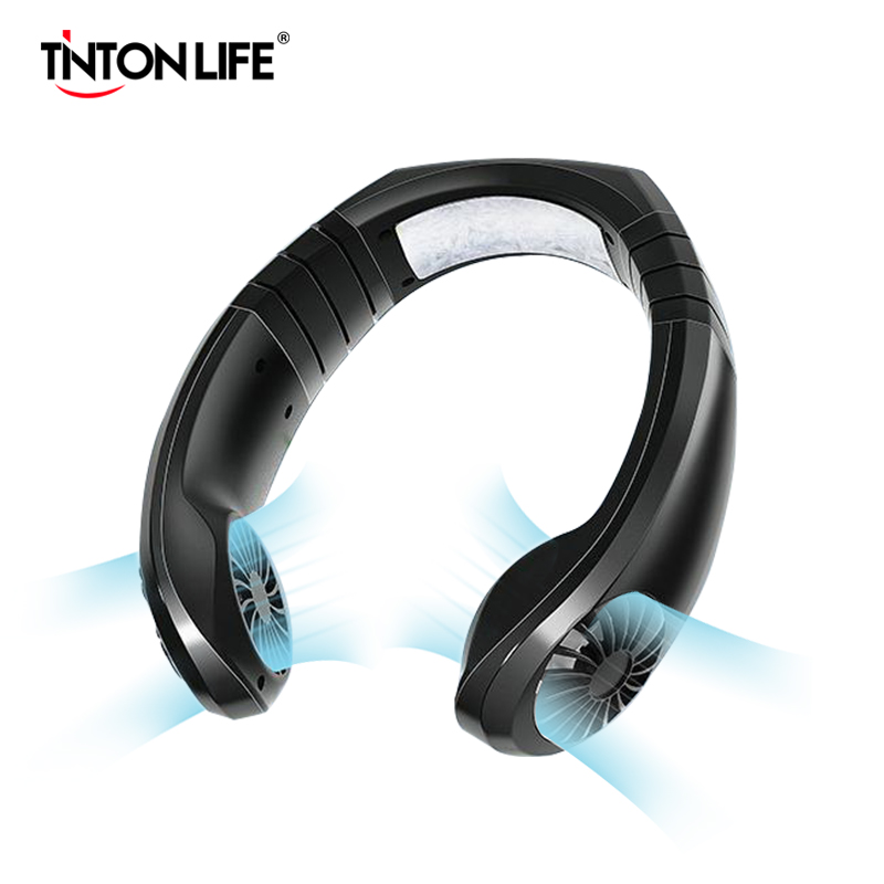 Neck Cooler Fan Hands Free Mini Portable Adjustable Sport Neck Band Dual Semiconductor Chip Cooling Fan