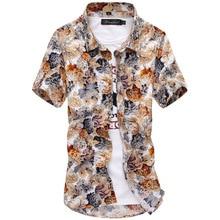 2018 m. Vasaros naujos mados aukštos kokybės vyrų gėlių marškiniai Vyriški apykaklės marškiniai trumpomis rankovėmis atsitiktiniai marškiniai 7 spalvos 5 dydžiai