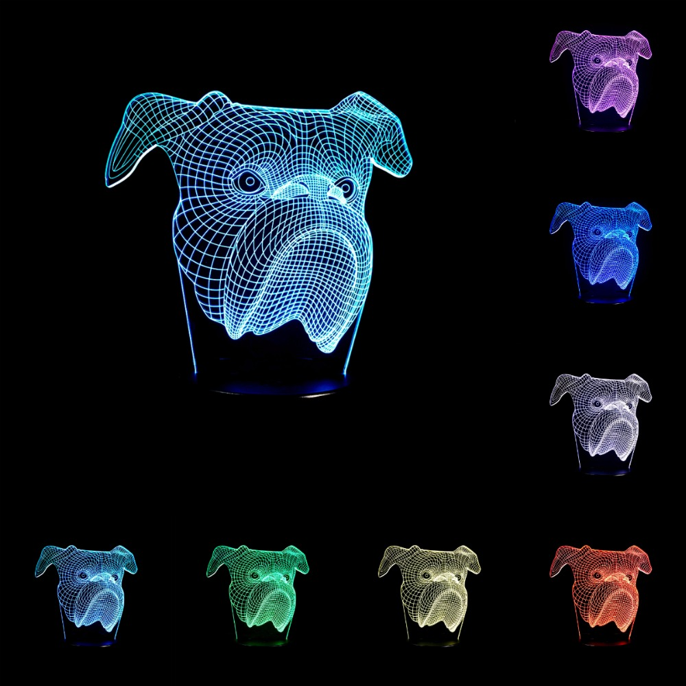 Сенсорный выключатель милая собака голову 3D свет светодиодный 7 Изменение цвета USB настольные лампы Шари пирог собака голову как подарок до...