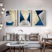 الحديثة مجردة الأزرق الذهب القمر اللوحة الهندسة الجبلية قماش المشارك جدار الفن صورة لغرفة المعيشة غير المؤطرة