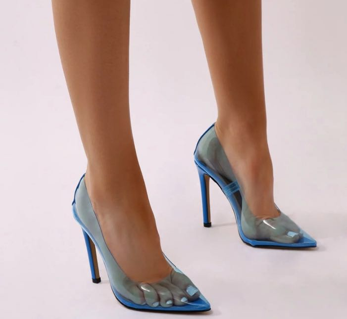 Taille 44 Sexy Pvc clair femmes pompes bout pointu sans lacet Transparent mariée chaussures femmes talon aiguille pompe 10 cm chaussures femme