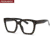 Peekaboo Black Square Frame Glasses Men Clear Lens Rivet Shade Women Sunglasses Women Punk 2017 White