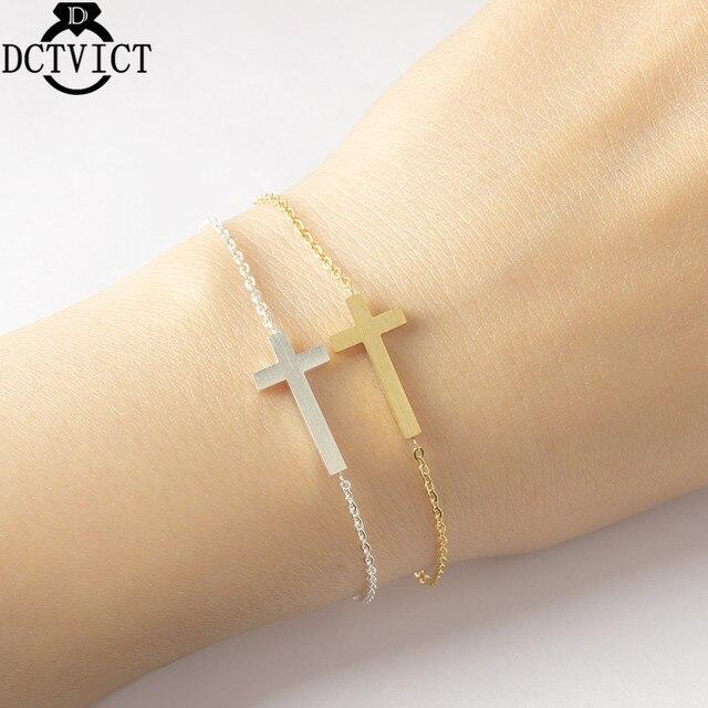 Gold Cross Bracelet Bangle Jewelry Prayer Gifts Simple Stainless Steel Silver Chains Bracelet Religous Pulseira Feminina B