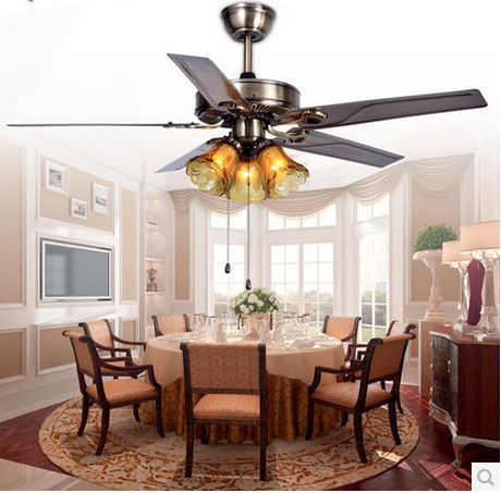 52inch Fan Light With Remote Control Iron Leaf Ceiling Lamp Dining Room Living