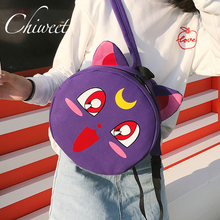 Women Girl Cute Sailor Moon Backpack Cat Ear Shape Luna Schoolbag Round Designer Funny Bag Bookbag Cartoon Large Canvas Backpack