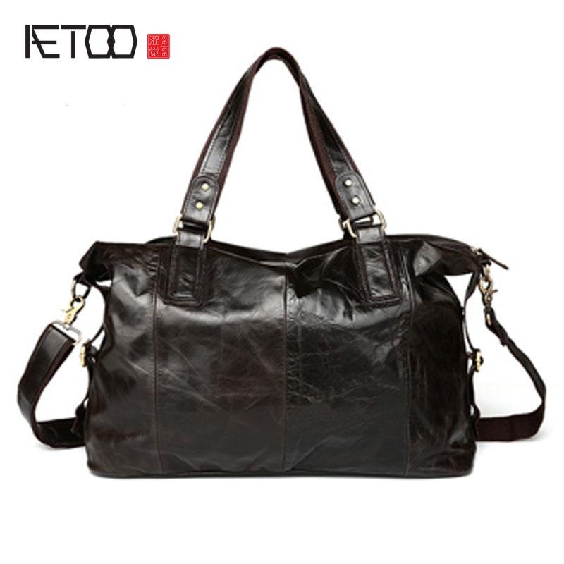 Здесь продается  AETOOvintage High Quality 100% Guaranteed Real Genuine Leather Men large capacity Messenger Bags Portfolios Briefcase Laptop Bag  Камера и Сумки