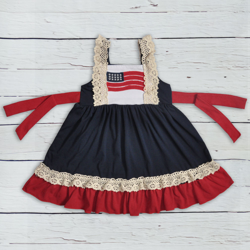 Children Sleeveless Knitted Cotton Dress Baby Girl Boutique Clothing Remake Girl Lace Dress LYQ805-174