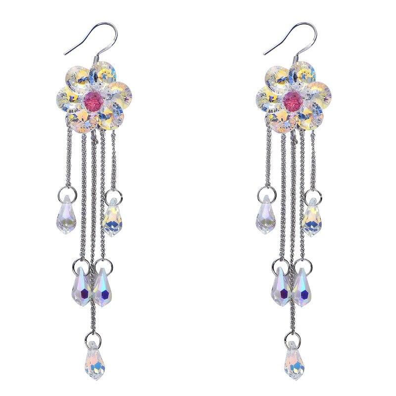 Warme Farben femmes boucles d'oreilles goutte 925 argent cristal de Swarovski plante fleurs boucle d'oreille classique bijoux fins anniversaire pour dame