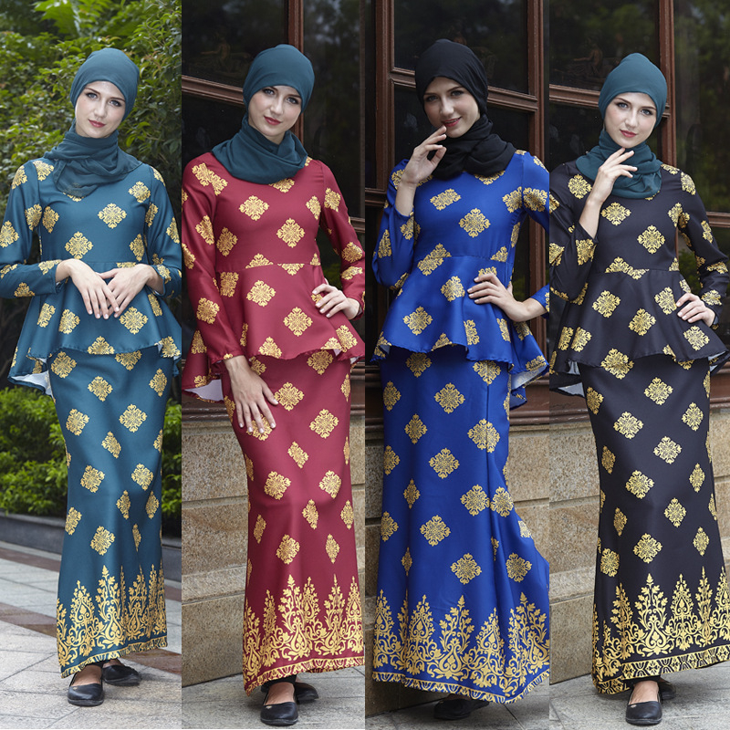 Elegant  Malaysia Suit  Muslim Costumes Silky Traditional Islamic Clothing Eid Mubarak Abaya Gown Women Dress Free Shipping