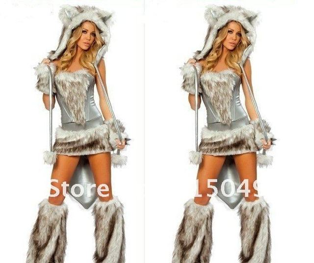 NW Halloween Game Costume Cosplay Outfit Sexy Women's Furry Bad Wolf Fancy Set