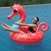 2019 Newest Inflatable Coral Seahorse Swimming Ring PVC Pegasus Pool Drink Float for Adult Water Party Toy Ride on Air Mattress