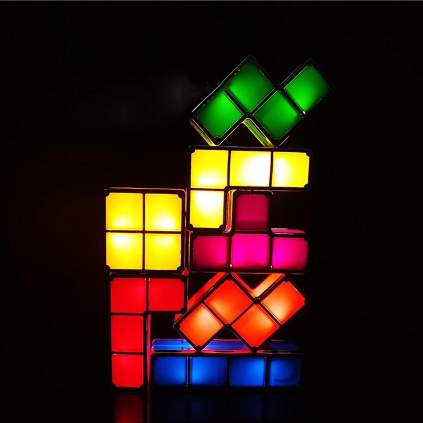 1 Juego de Tetris Luz Nocturna apilable rompecabezas 3D juguete bloques mágicos inducción enclavamiento Novedad LED lámpara de escritorio iluminación DIY para chico