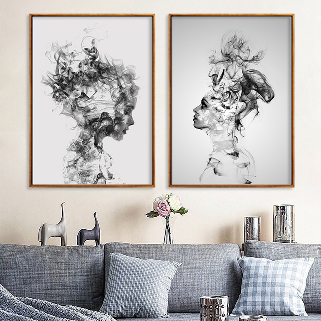 Black And White Artwork For Bedroom Grey Paint Colors Bedroom Art For Kids Bedroom Proper Bedroom Arrangement: Abstract Black White Woman Canvas Print Art Painting Home