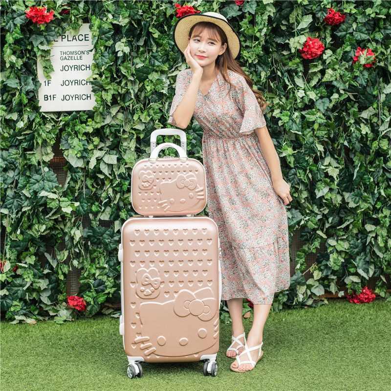 2 pçs/set Bonita polegadas olá Kitty saco de cosmética 20 24 estudantes de 28 polegadas bagagem De Viagem do trole caso de uma mulher de rolamento mala