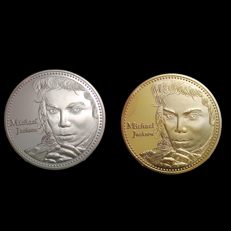 2 pcs Michael Jackson Grammy winner rock song singer musician silver 24k gold plated American souvenir decoration 40 mm coin image