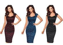 Frauen sommer herbst sleeveless schwarz blau wrap sexy v-ausschnitt cocktail partei gelegenheitsarbeiten dünne blütenspitze dress