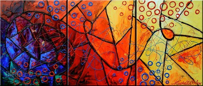 Buy stained glass perceptions oil for 3 panel painting