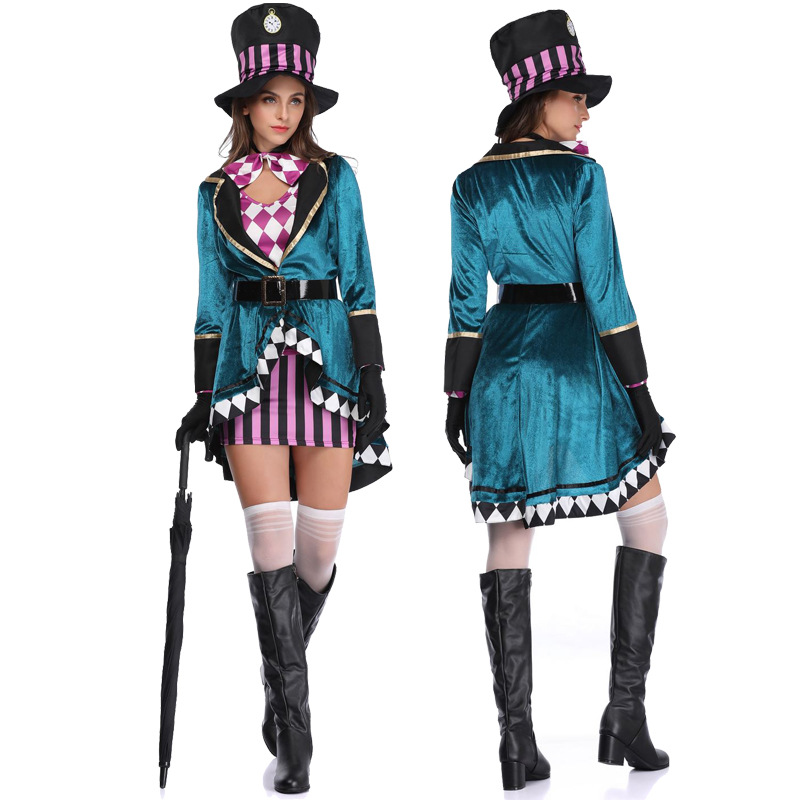 2019 Alice In Wonderland Mad Hatter Costume for Women Halloween Witch Dress Sexy Magician Costume Magic Dress