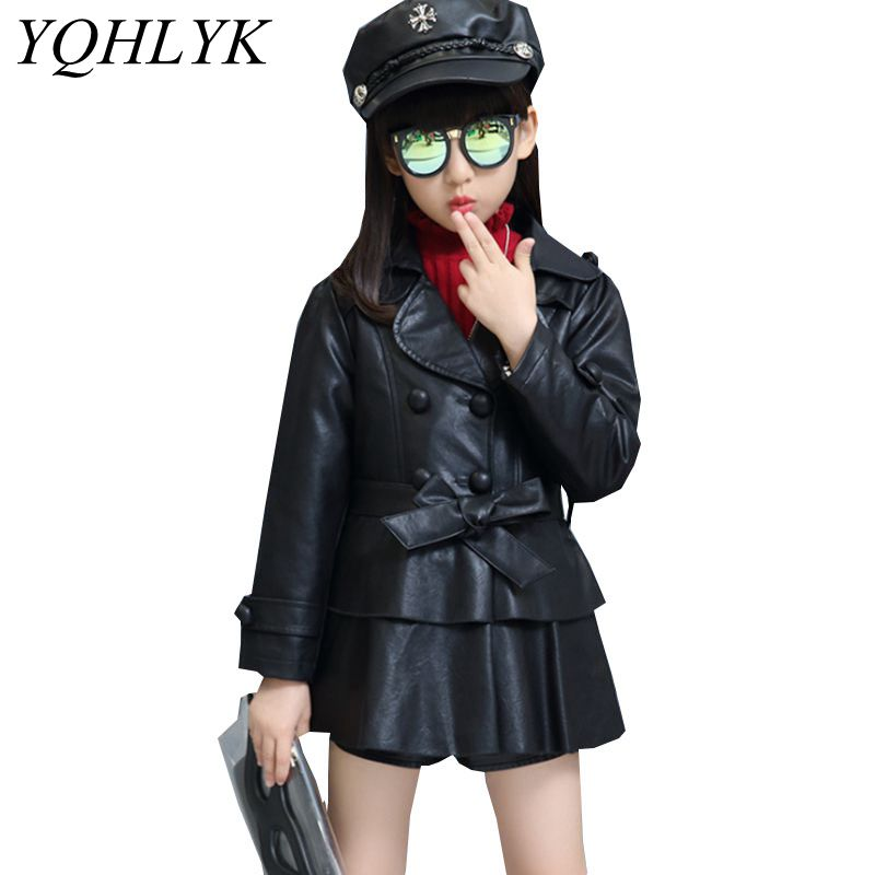 все цены на New Fashion Autumn winter Girls Coat 2018 Children Pure Color Lapel Long Sleeve Leather Jacket Casual Joker Kids Clothes W131