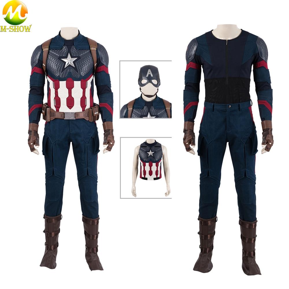 Avengers Endgame Captain America Cosplay Mask Avengers 4 Steven Roger Cosplay Vest Pants Top Halloween Costume For Men