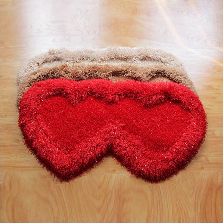 Maison mariage Super épais tapis literie salon thé Table tapis soie Double coeur tapis tapis romantique mariage produits
