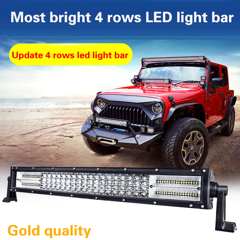 High quality 4 Row 22inch 32inch 42inch 52i LED Light Bar straight LED Work Light Bar OffRoad 4WD 4x4 Truck SUV ATV 12V led bar