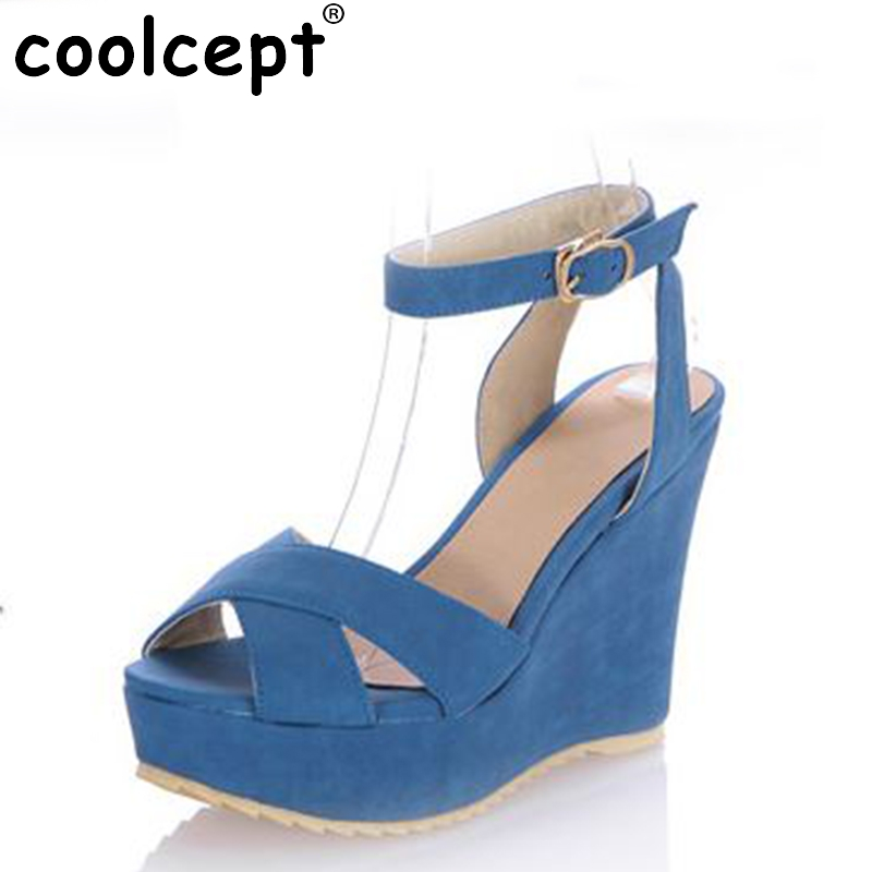 цены  CooLcept free shipping quality wedge sandals platform women sexy fashion lady female shoes P13918 hot sale EUR size 34-39