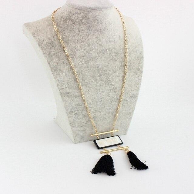 Chicvie белое ожерелье из натурального камня с черной кисточкой